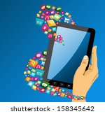 human hand holds electronic... | Shutterstock . vector #158345642
