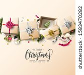 luxury christmas greeting card... | Shutterstock .eps vector #1583470282
