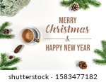 christmas winter composition.... | Shutterstock . vector #1583477182