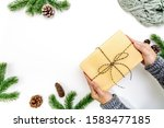 christmas winter composition.... | Shutterstock . vector #1583477185
