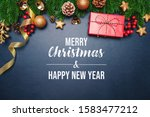 christmas present and pine tree ... | Shutterstock . vector #1583477212