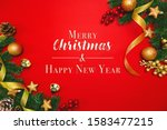 christmas pine tree with xmas... | Shutterstock . vector #1583477215