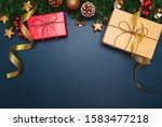 christmas present and pine tree ... | Shutterstock . vector #1583477218