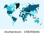 world map  blue countries atlas ... | Shutterstock . vector #158350646