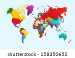 world map  colorful countries... | Shutterstock . vector #158350652