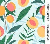 Peaches Hand Drawn Seamless...