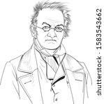 carl ritter cartoon portrait... | Shutterstock .eps vector #1583543662