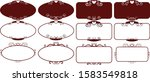 set dark red square vintage... | Shutterstock .eps vector #1583549818