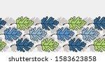 vector leaf seamless border in... | Shutterstock .eps vector #1583623858