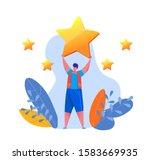 cartoon man holding big golden... | Shutterstock .eps vector #1583669935