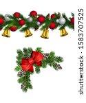vector christmas border... | Shutterstock .eps vector #1583707525