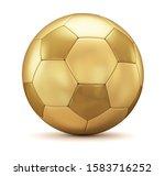 Golden Soccer Ball On A White...