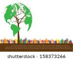 hand  style save the earth tree ... | Shutterstock .eps vector #158373266