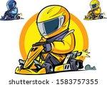 cartoon kart racer. vector...   Shutterstock .eps vector #1583757355