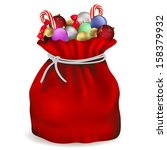 santa claus bag with candy and... | Shutterstock .eps vector #158379932