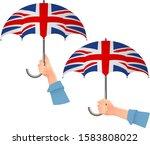 united kingdom flag umbrella.... | Shutterstock .eps vector #1583808022