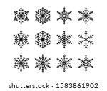 set of vector snowflakes icons. ... | Shutterstock .eps vector #1583861902