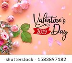 pink white roses bouquet  on... | Shutterstock . vector #1583897182