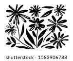chamomile hand drawn paint... | Shutterstock .eps vector #1583906788