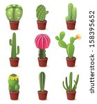 9 cactuses icons set... | Shutterstock . vector #158395652