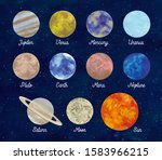 colorful planets and space by...   Shutterstock . vector #1583966215