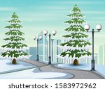 Illustration Of Snowy Road To...
