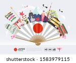 japan famous landmarks travel... | Shutterstock .eps vector #1583979115