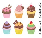 cupcake vector set illustration ... | Shutterstock .eps vector #1583983615