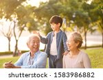 asian grandson  grandfather and ... | Shutterstock . vector #1583986882