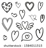 heart on white. abstract hearts ... | Shutterstock .eps vector #1584011515