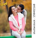 couple kissing outdoor in the... | Shutterstock . vector #158402168