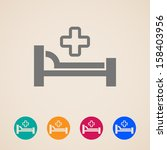 vector icons with bed and cross.... | Shutterstock .eps vector #158403956