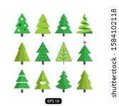 christmas pine tree winter with ... | Shutterstock .eps vector #1584102118
