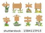 wooden signs in grass. cartoon... | Shutterstock .eps vector #1584115915