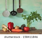 vegetables  and vintage kitchen ...