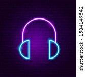 headphones neon sign. vector...