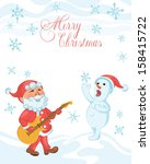 christmas cartoon card with... | Shutterstock .eps vector #158415722