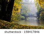 autumn   old bridge in autumn... | Shutterstock . vector #158417846
