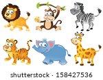 wild animals collection 1... | Shutterstock . vector #158427536