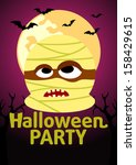 halloween party banner with... | Shutterstock .eps vector #158429615