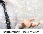abstract technology geometric...   Shutterstock . vector #1584297325