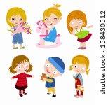 group of children | Shutterstock .eps vector #158430512