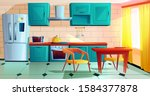 kitchen interior witn furniture ... | Shutterstock .eps vector #1584377878