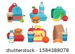 school lunch boxes collection ... | Shutterstock .eps vector #1584388078