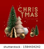 christmas postcard with... | Shutterstock .eps vector #1584434242