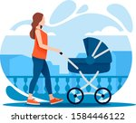 young mother walking with a... | Shutterstock .eps vector #1584446122