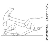 Male Hands With Hammer. Vector...