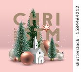 christmas postcard with... | Shutterstock .eps vector #1584464212