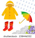 rain gear for children | Shutterstock .eps vector #158446532