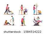 volunteer people doing charity... | Shutterstock .eps vector #1584514222